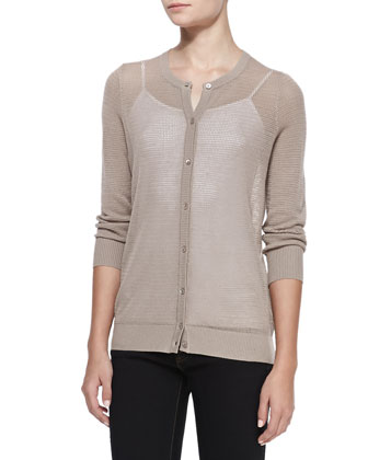 Pique-Stitch Silk-Wool Cardigan