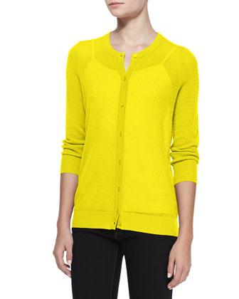 Pique-Stitch Silk-Cashmere Cardigan, Yellow
