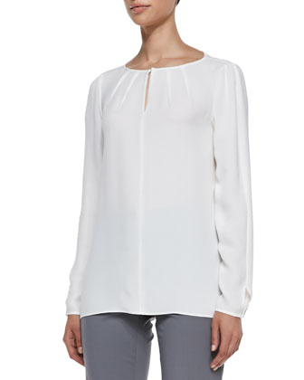 Pattie Long-Sleeve Silk Blouse, Cloud
