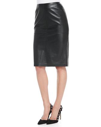 Slim Lambskin Leather Pencil Skirt