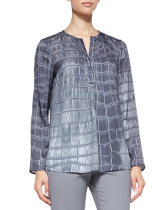 Lustrous Crocodile-Print Top