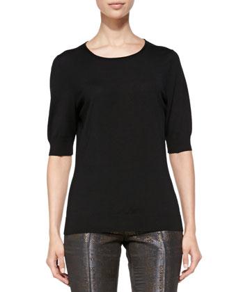 Half-Sleeve Merino Top, Black