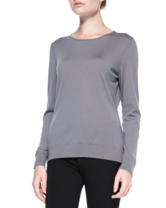 Fine-Gauge Long-Sleeve Sweater, Rock