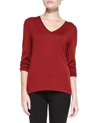 Fine-Gauge Merino Sweater, Auburn