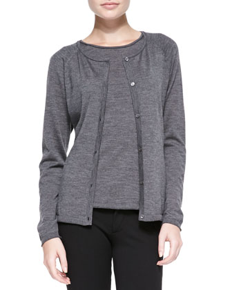 Fine-Gauge Merino Cardigan Sweater, Dark Nickel
