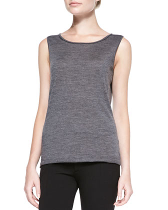 Fine-Gauge Merino Tank Top, Dark Nickel