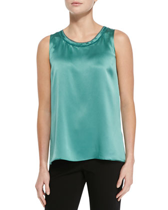 Sleeveless Silk Blouse, Everglade