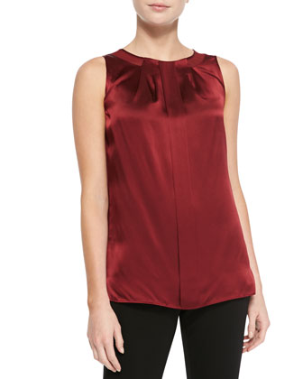 Renee Sleeveless Silk Pleated Blouse
