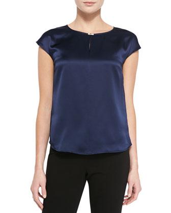 Deann Silk Cap-Sleeve Blouse