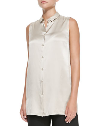 Ambros Sleeveless Silk Long Blouse