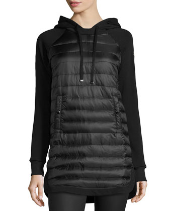 Puffer-Front Pullover Jacket, Black