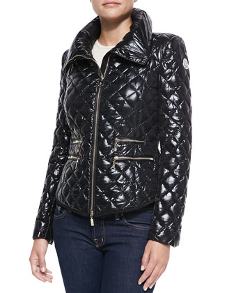Champetre Quilted Puffer Coat, Black