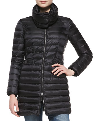 Vanne Mock-Neck Puffer Coat, Black