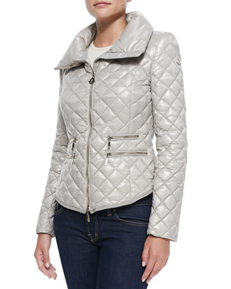 Champetre Quilted Puffer Coat, Light Beige
