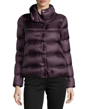 Bourdon Snap-Front Short Puffer Coat