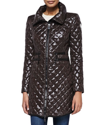Quilted Front-Zip Puffer Coat