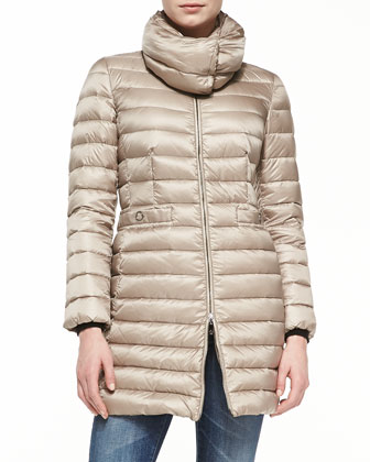 Vanne Mock-Neck Puffer Coat, Ivory