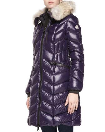 Bellco Fur-Trim Puffer Coat, Plum