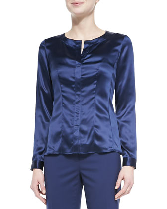 Split-Neck Silk Charmeuse Blouse