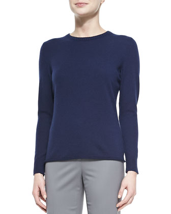 Cashmere Long-Sleeve Sweater & Crosby Straight-Leg Pants