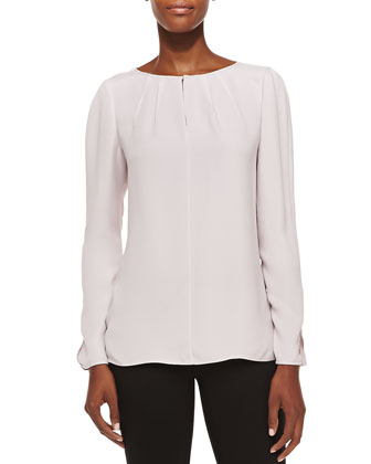 Pattie Long-Sleeve Silk Blouse, Lark