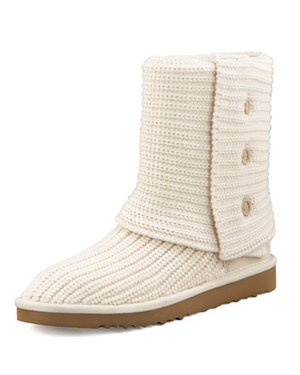 Classic Cardy Crochet Shearling Boot, Cream