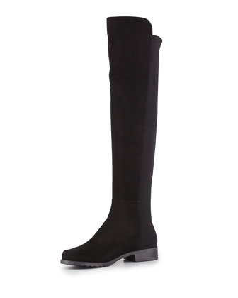 50/50 Suede Stretch Over-the-Knee Boot, Black (Made to Order)