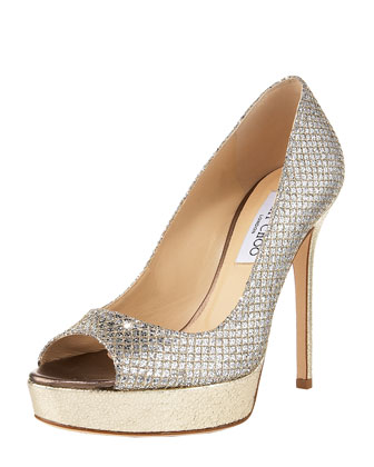 Crown Open-Toe Platform Pump