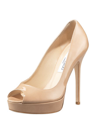 Crown Peep-Toe Patent Platform Pump