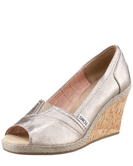 TOMS Bennet Metallic Cork Wedge