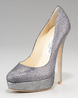 Jimmy Choo Eros Glittered Platform Pump
