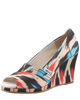 TOMS Ikat-Print Peep-Toe Wedge