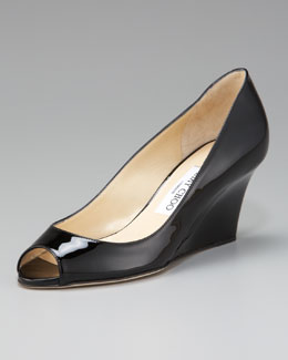 Jimmy Choo Bale Peep-Toe Patent Wedge Pump