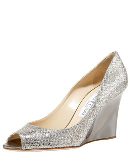 Jimmy Choo Baxex Glittered Wedge Pump