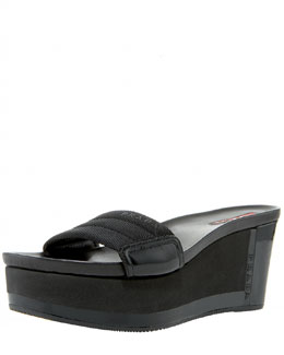 Prada Exclusive Nylon and Patent Slide Wedge