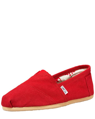 Monogrammed Classic Canvas Slip On, Red