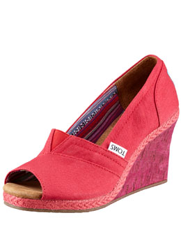 TOMS Paz Fabric Peep-Toe Wedge