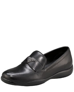 Prada Classic Leather Triangle Logo Loafer