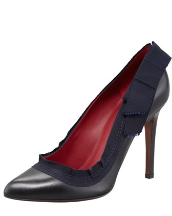Grosgrain-Trim Leather Pump, Black