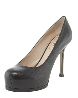 Yves Saint Laurent Tribtoo Mid-Heel Textured Platform Pump