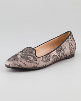 Valentino Caviar-Crystal Lace Smoking Slipper