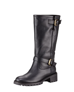 Fendi Rabbit-Lined Motorcycle Boot