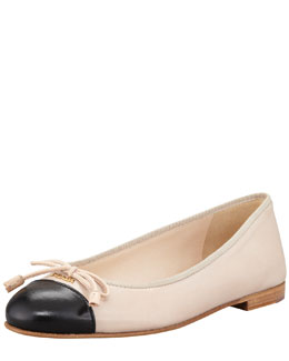 Prada Bicolor Leather Cap-Toe Ballerina Flat