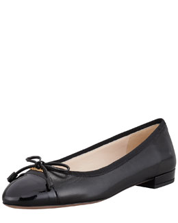 Prada Leather & Patent Bow Ballerina Flat