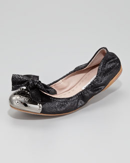 Miu Miu Bow-Toe Crackle Ballerina Flat