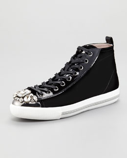 Miu Miu Bejeweled Velvet High Top