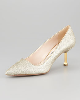 Prada Glitter Pointed-Toe Pump