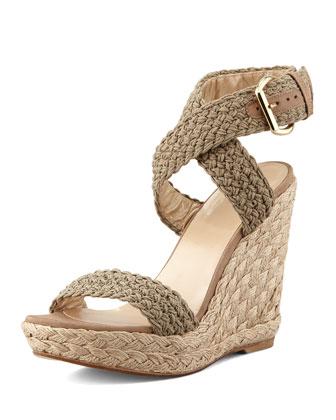 Stuart Weitzman Alex Crochet Wedge Sandal