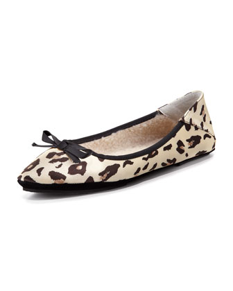 Inslee Bow Faux-Shearling Slipper, Leopard
