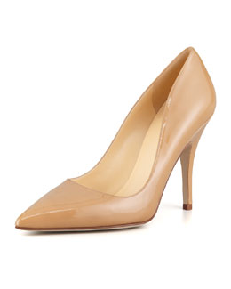 kate spade new york licorice patent pointed-toe pump, camel